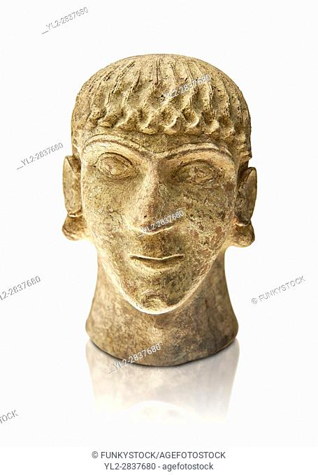 First half of the 6th century B. C Etruscan clay head of a young man made in Chiusi, inv 94612, National Archaeological Museum Florence, Italy