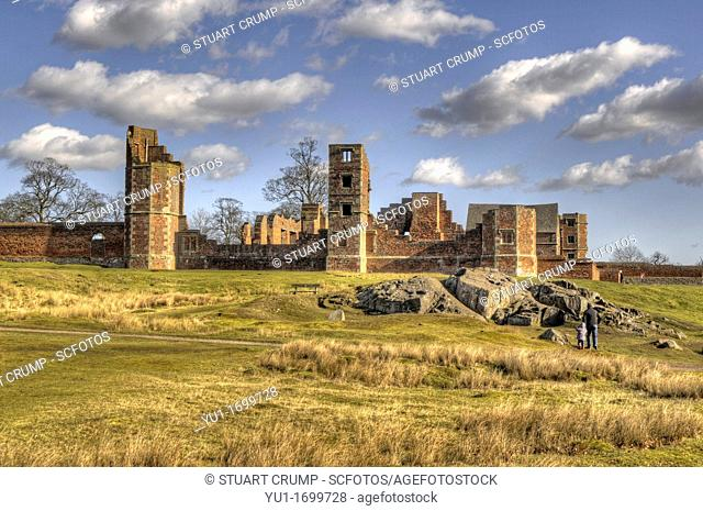 Ruins of Bradgate House, Bradgate Country Park, Leicestershire, England, UK