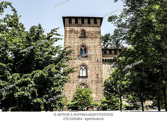Castle tower. Visconti Castle (Castello Visconteo), (Civic Museums of Pavia). Pavia, Lombardy, Italy, Europe