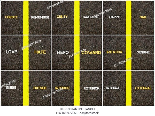 Photo collage of antonym concepts written over tarmac, road marking yellow paint separating line between words
