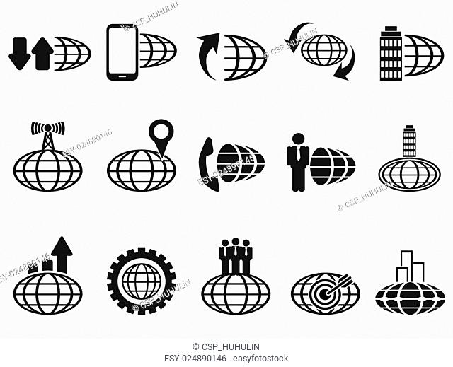 black global business icons set