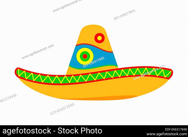 Colorful cartoon mexican hat. Fiesta carnival clothing. Mexico theme vector illustration for icon, stamp, label, badge, certificate, leaflet, poster