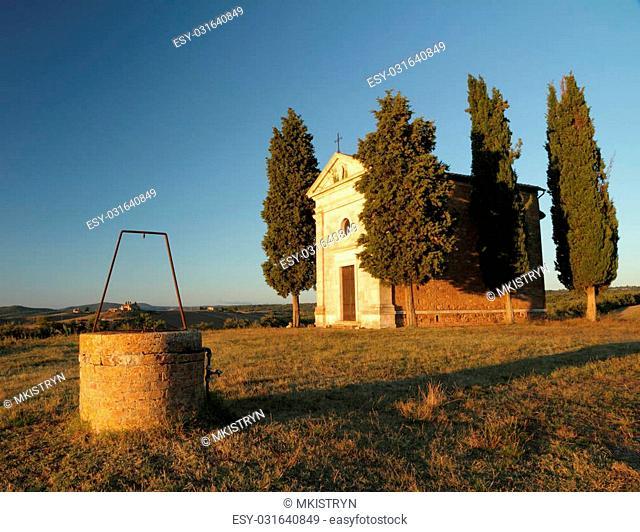 Chapel of Madonna di Vitaleta in sunset light, San Quirico d'Orcia, UNESCO world heritage, Tuscany,Italy,Europe
