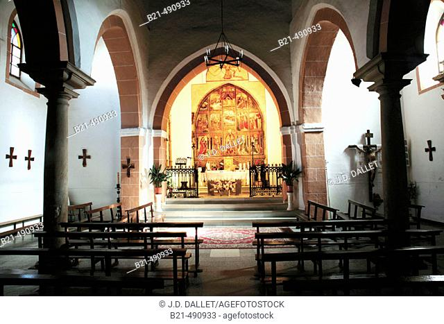 Santa Maria Magdalena church, at Cala, with the original altar (XVc.). Huelva province. Spain