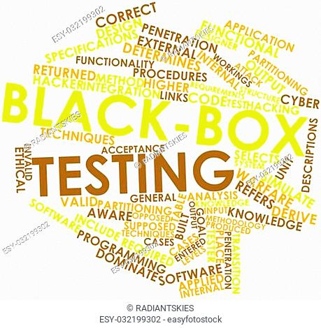 Abstract word cloud for Black-box testing with related tags and terms