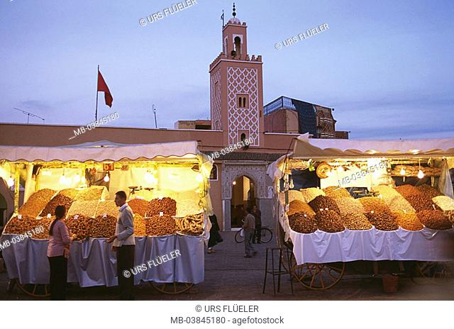 Morocco, Marrakesch, Jema El Fna, mosque, market place, booths, twilight, Medina, Jemaa-El-Fna-Platz, buildings, construction, minaret, forecourt, market-stands