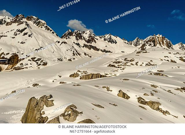 Aerial views above Glacier Bay National Park, southeast Alaska USA. Glacier Bay is a UNESCO World Heritage Site