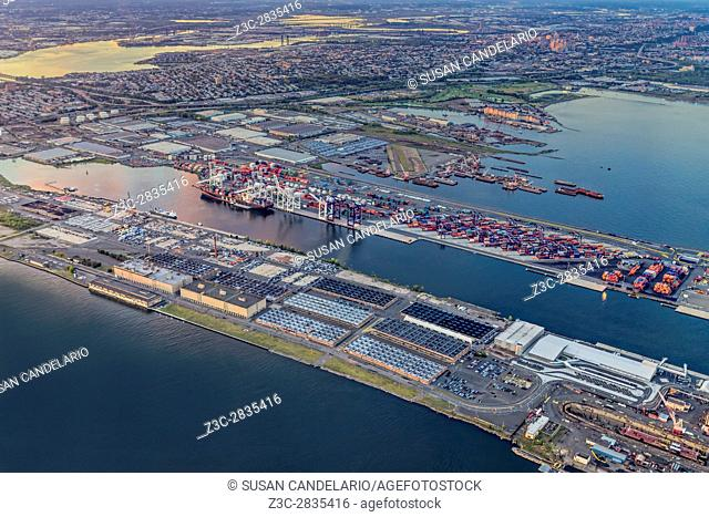 Aerial View of the Bayonne Container Terminal and industrial area in New Jersey