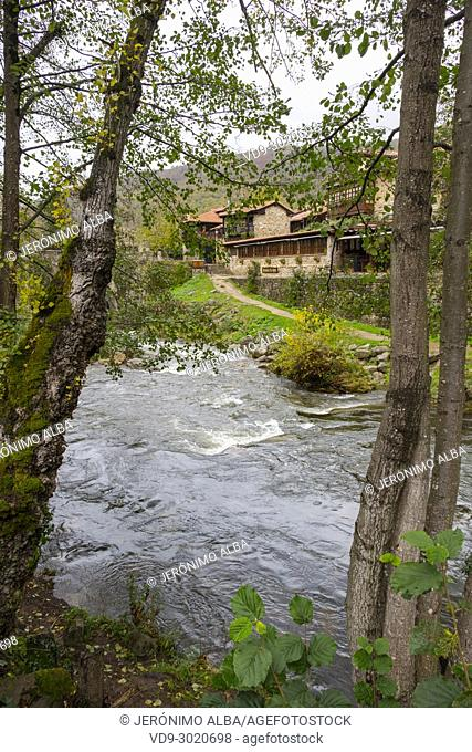 Argoza river. Rural Village of Barcena Mayor Los Tojos. Saja Natural Park, Saja-Nansa, Cantabria, Spain Europe