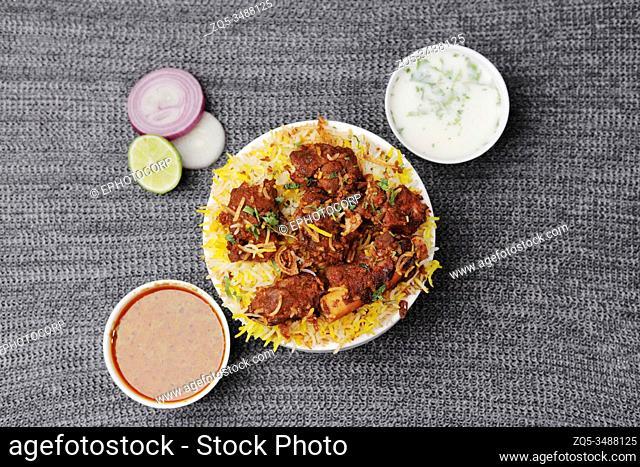 Hyderabadi chicken biryani and sauces