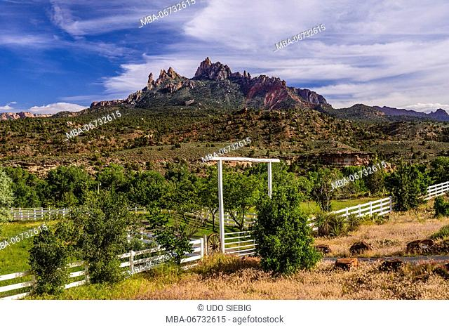 The USA, Utah, Washington county, Springdale, Zion National Park, ranch in the Majestic View