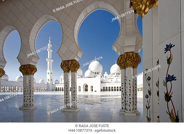 Sheikh Zayed mosque, domes, minaret, tower, rook, Islam, mosque, religion, columns, Abu Dhabi, UAE, United Arab Emirates, Middle East, curve, traveling