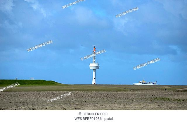 Germany, Lower Saxony, North Sea, Hamburg Wadden Sea National Park, Neuwerk, salt meadow, radar tower