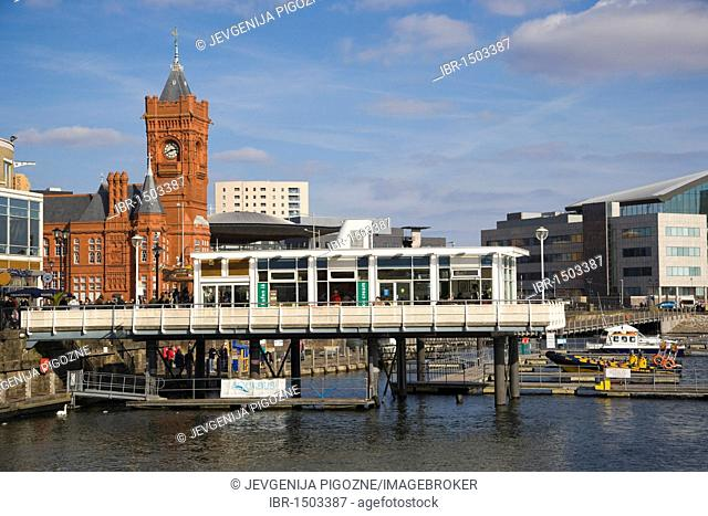 Mermaid Quay and The Pierhead Building over Inner Harbour, Cardiff Bay, Cardiff, Caerdydd, South Glamorgan, Wales, United Kingdom, Europe