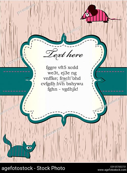 wooden card with cat and mouse. vector eps 8