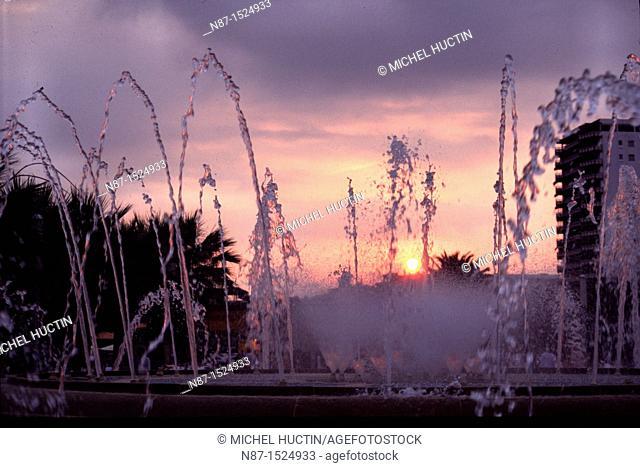 Spain, Salou luminous fountain