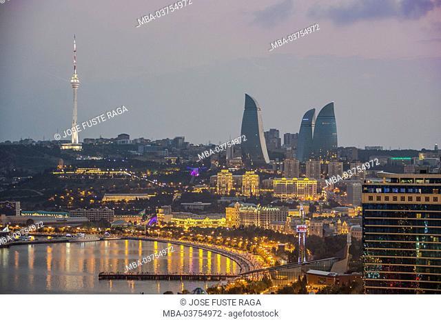 Azerbaijan, Baku City, Sunset, Baku Bay, Flame Towers