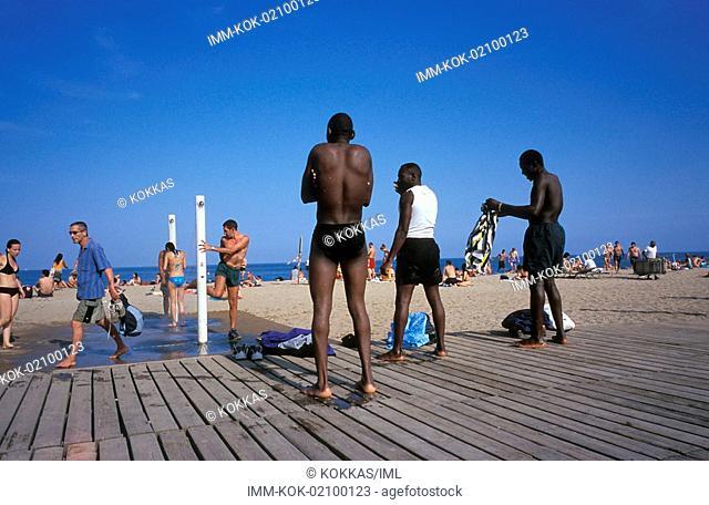 La Playa beach, men doing shower, Barcelona, Spain, Europe