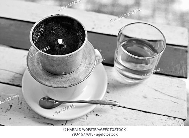 Asia, Vietnam, Ho Chi Minh City Saigon  Typical vietnamese style Hot Cafe Milk