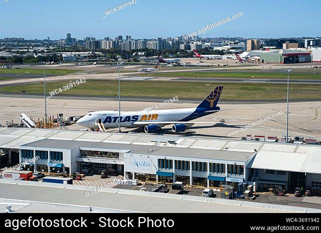Sydney, New South Wales, Australia - A Boeing 747-8 Atlas Air cargo plane parks on the apron at Kingsford Smith Airport