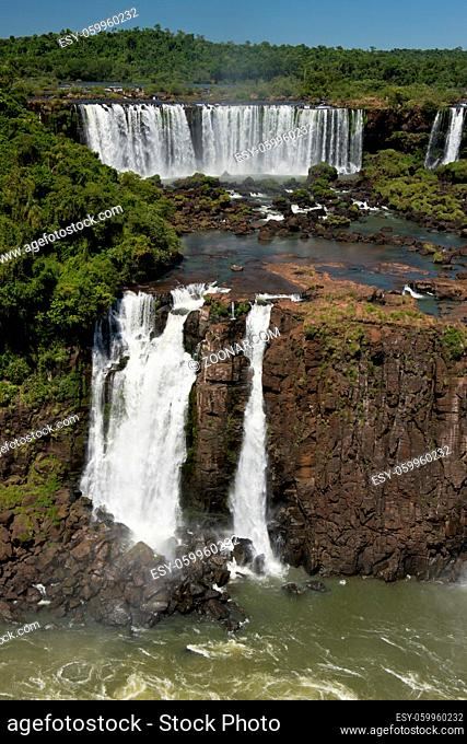 part of the iguazu falls, seen from the brazilian side, one of the world's seven natural wonders