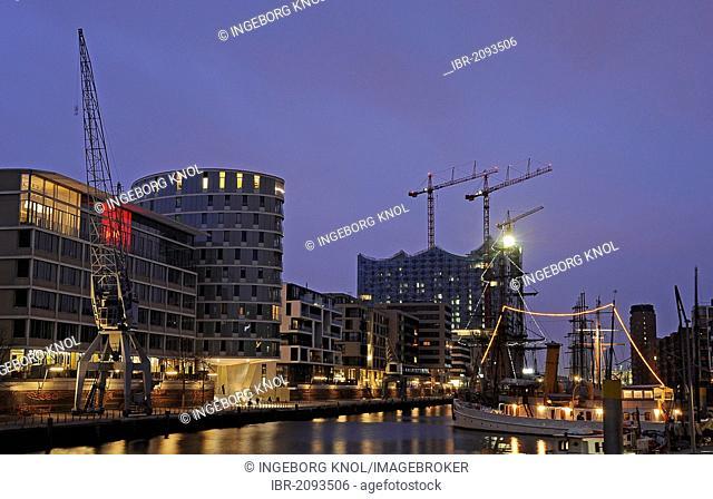 Hafencity quarter at night, Hamburg, Germany, Europe