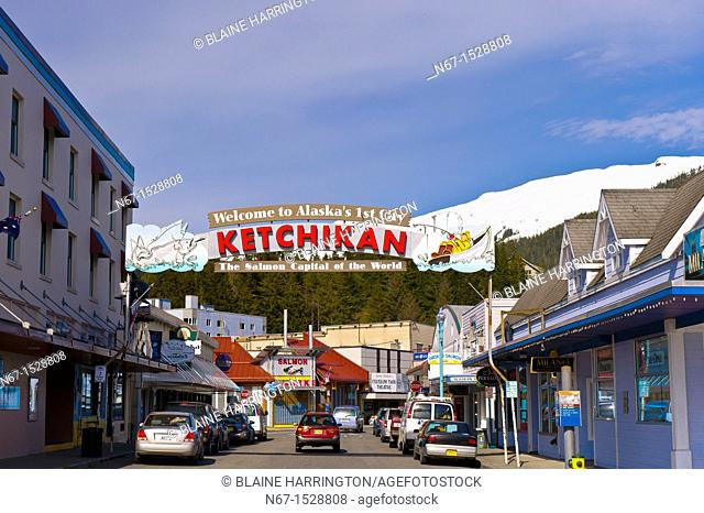 Ketchikan sign 'Welcome to Alaska's First City, The Salmon Capital of the World', Ketchikan, Southeast Alaska USA