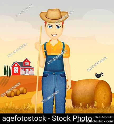 illustration of farmer in countryside