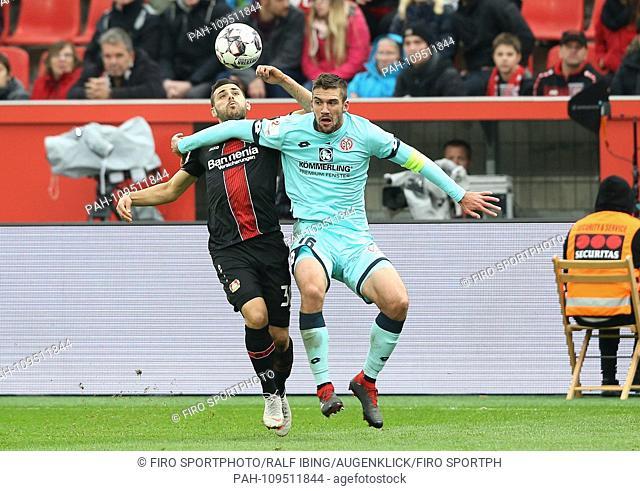 firo: 23.09.2018, football, 1.Bundesliga, season 2018/2019, Bayer 04 Leverkusen - FSV FSV FSV Mainz 05 VOLLAND, left Leverkusen versus BELL   usage worldwide