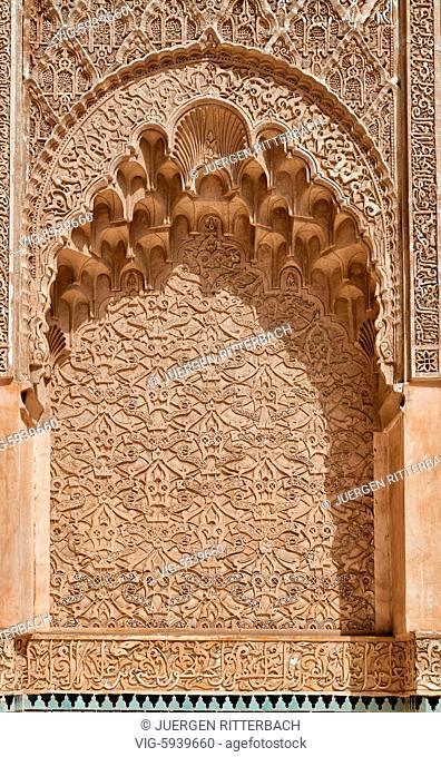 MOROCCO, MARRAKESH, 16.05.2016, Islamic school Medersa Ben Youssef, Marrakesh, Morocco, Africa - Marrakesh, Morocco, 16/05/2016