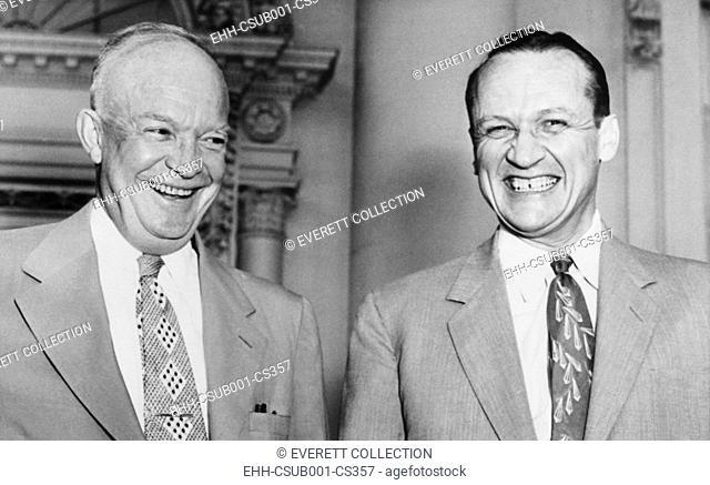 President Eisenhower with Republican Senate Majority leader William F. Knowland of California. Aug. 6, 1953 (CSU-2015-7-361)