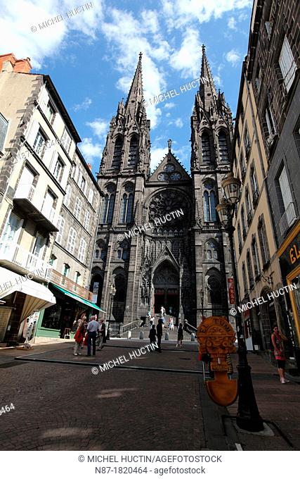 Cathedral and street Clermont Ferrand, France