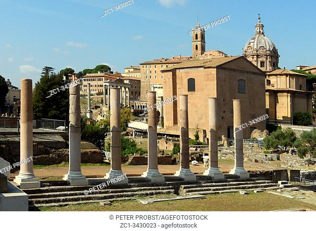 Roman Forum in the center of the ancient roma in the Italian capital Rome - Italy