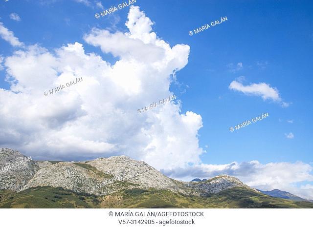 Cloudy sky and mountain landscape. Fuentes Carrionas y Fuente Cobre Nature Reserve, Palencia province, Castilla Leon, Spain