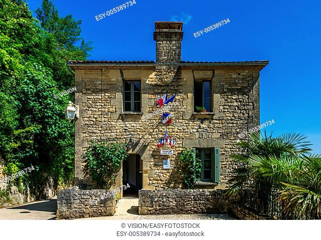 LA ROQUE GAGEAC, FRANCE - June 23, 2012: beautiful town hall village of La Roque Gageac on June 23th, 2012 at Dordogne Perigord France