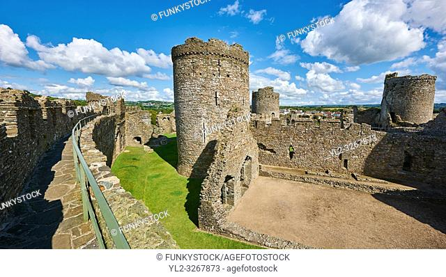 Interior ruins of the medieval Norman Kidwelly Castle, Kidwelly, Carmarthenshire, Wales