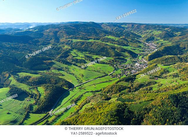 France, Haut Rhin 68, Val d'Argent valley, village of Sainte-Croix-aux-Mines aerial view