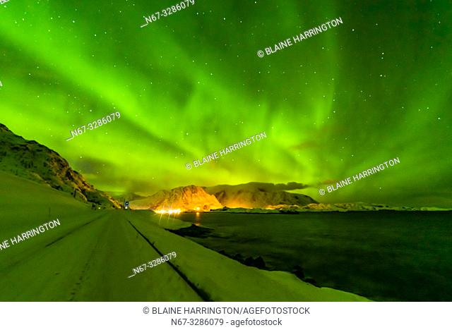 Northern Lights (Aurora Borealis) seen from along the E10 near Reine, Moskenoesoya Island, Lofoten Islands, Arctic, Northern Norway