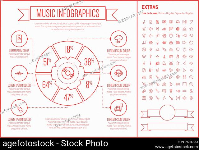 Music infographic template and elements. The template includes the following set of icons - orgami, gramopnone, digital equalizer, ukelele, saxophone