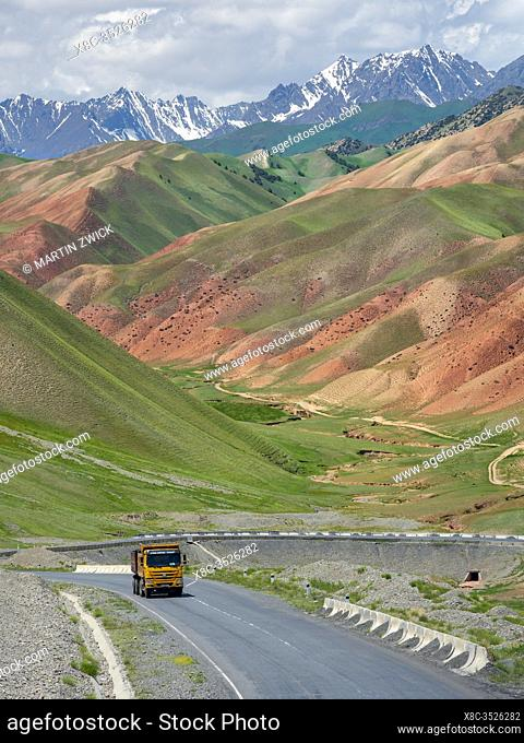 Landscape along the Pamir Highway. The mountain range Tian Shan or Heavenly Mountains. Asia, Central Asia, Kyrgyzstan