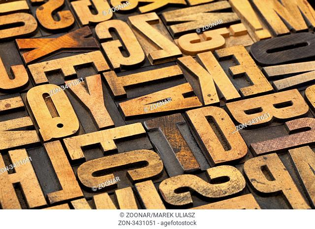 alphabet abstract in vintage letterpress wood type with ink patina