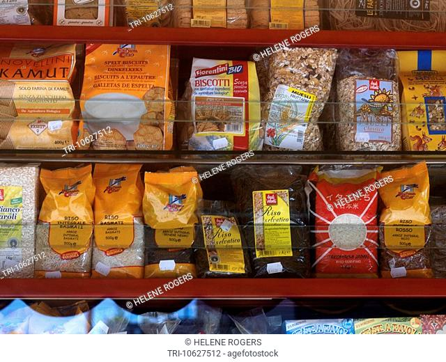 Rice Biscuits & Grain on supermarket shelves Catania Sicily Italy