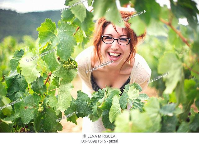 Young woman peering through vines, laughing, Boutenac, France