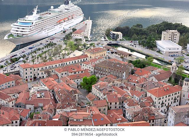 Rooves, harbour and view of Kotor, Montenegro