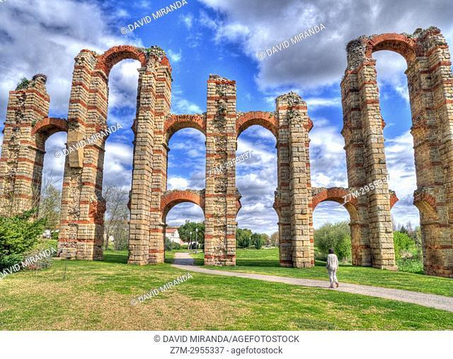 Los Milagros Roman aqueduct. Mérida. Badajoz. Extremadura. Spain