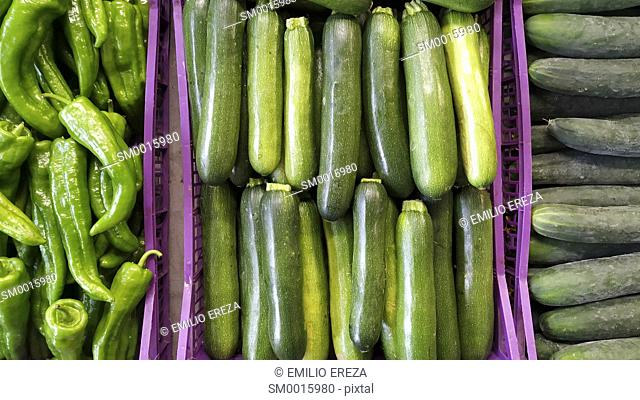 Cucumbers, courgettes and peppers for sale