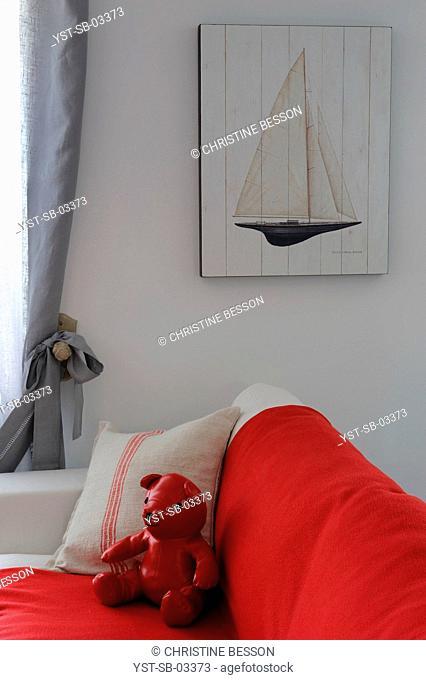 Living room, house, seashore, island, La Flotte, Ile de Ré, France