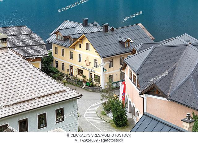 Roofs and buildings of the austrian village of Hallstatt, Salzkammergut Region, Upper Austria, Austria
