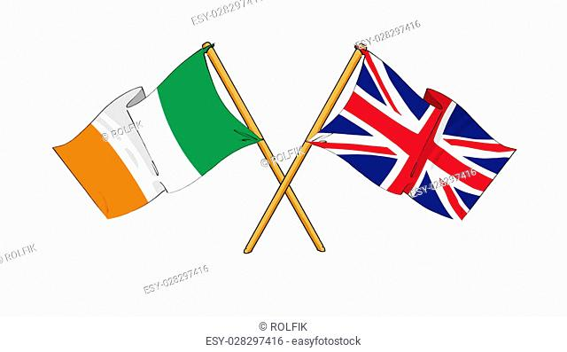 cartoon-like drawings of flags showing friendship between Ireland and United Kingdom