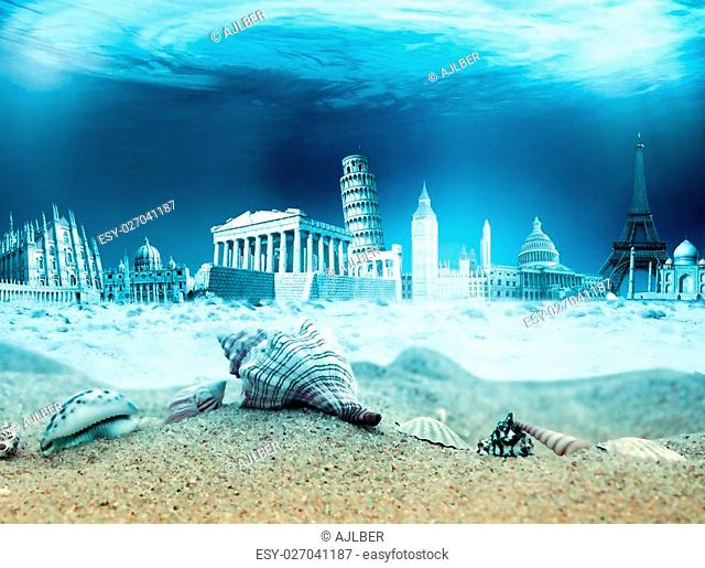 Underwater monuments from around the world with shells and sand